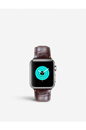 Mintapple Men Watches - Mens Apple Watch Alligator-embossed Leather Strap and Stainless Steel Case 38mm/40mm