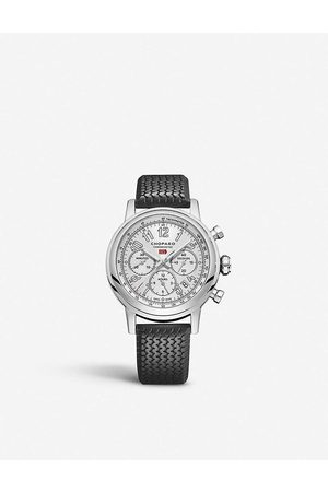 Chopard Mens and Mille Miglia Classic Chronograph Stainless Steel and Leather Watch