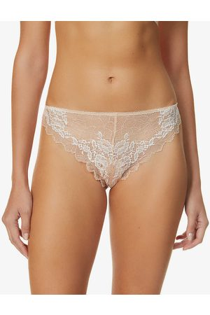 Wacoal Womens Cafe Creme Lace Perfection Mid-rise Stretch-lace Tanga Briefs S