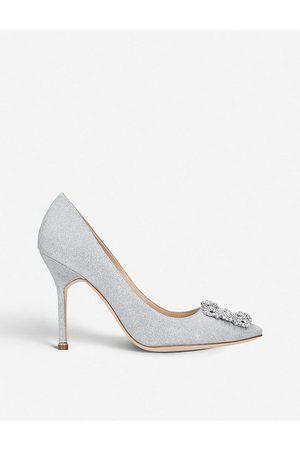 Manolo Blahnik Womens Hangisi 105 Notturno Bride Swarovski Crystal-embellished Courts EUR 35 / 2 UK Women