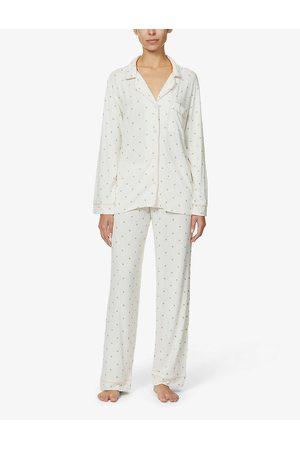 Eberjey Womens Magnolia Tropical Giving Palm Stretch-woven Pyjama set XS