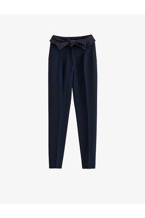 Claudie Pierlot Womens Navy Papaye Tapered High-rise Crepe Trousers 6