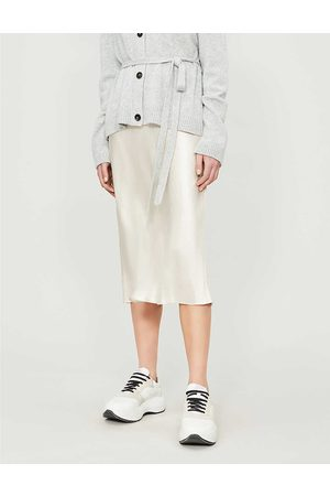 Vince Womens Champagne Flared High-rise Crushed Satin Midi Skirt XS