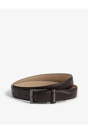Ted Baker Mens Chocolate Lizwiz Leather Belt 34