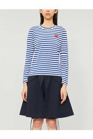 Comme des Garçons Womens Navy- Heart-appliqué Cotton-jersey top XS