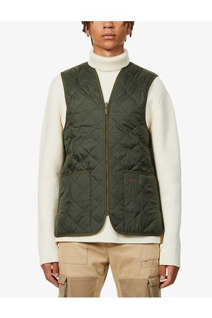 Barbour Mens Olive Funnel-neck Quilted Shell Gilet 40