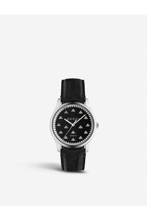 Gucci Men Watches - YA126286 G-Timeless leather and stainless steel watch