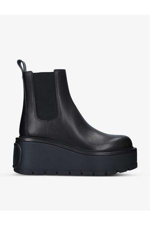 VALENTINO GARAVANI Womens Logo-embossed Leather Chelsea Boots EUR 36.5 / 3.5 UK Women