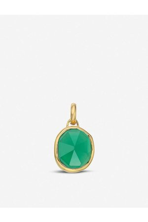 Monica Vinader Womens Siren Medium 18ct Gold-plated Vermeil Silver and Green Onyx Pendant