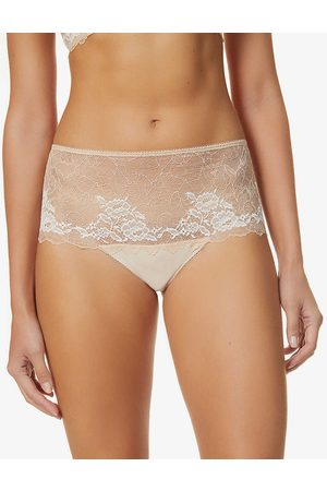 Wacoal Women Briefs - Womens Cafe Creme Lace Perfection Mid-rise Stretch-lace Briefs S