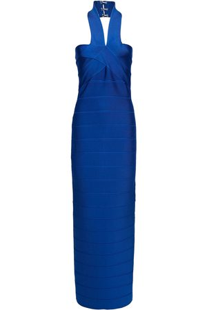 Hervé Léger Hervé Léger Woman Bandage Halterneck Midi Dress Royal Blue Size L