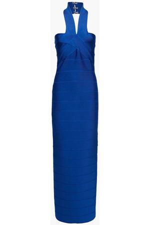 Hervé Léger Hervé Léger Woman Bandage Halterneck Midi Dress Royal Blue Size L