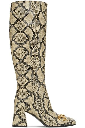 Gucci 75mm Python Print Leather Tall Boots