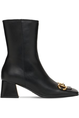 Gucci 55mm Leather Ankle Boots W/ Horsebit