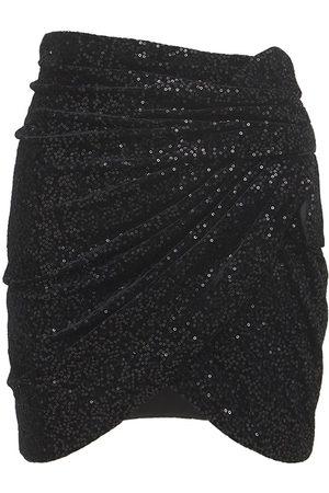 Saint Laurent Sequins Draped Velvet Micro Mini Skirt