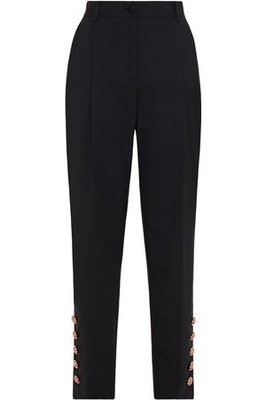 Dolce & Gabbana Women Trousers - Woman Crystal-embellished Wool-blend Crepe Tapered Pants Size 36