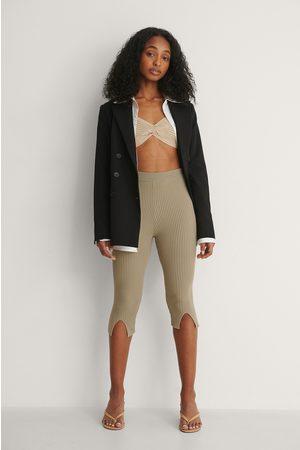 NA-KD Front Slit Knitted Leggings - Brown