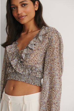 NA-KD Recycled Cropped Flounce LS Blouse - Beige