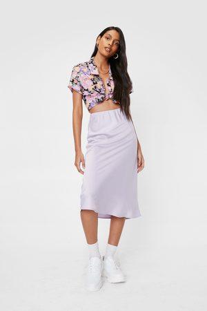 NASTY GAL Women Skirts - Womens High Waisted Satin Bias Cut Midi Skirt - - 6