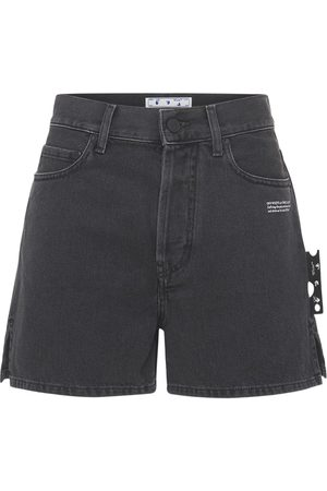 OFF-WHITE High Waist Cotton Denim Shorts