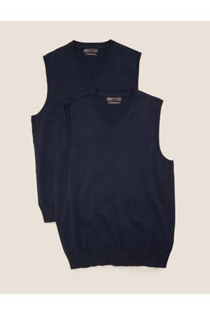 Marks & Spencer Mens 2 Pack Pure Cotton Knitted Tanks - SREG - Navy, Navy