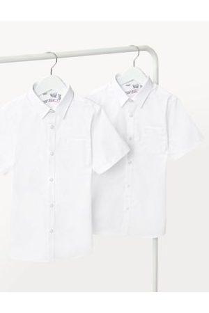 Marks & Spencer Boys 2pk Boys' Cotton Slim Fit School Shirts (2-18 Yrs) - 2-3 Y