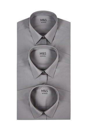 M&S Girls 3pk Girls' Easy Iron School Shirts (2-16 Yrs) - 2-3 Y - , , , ,Cream