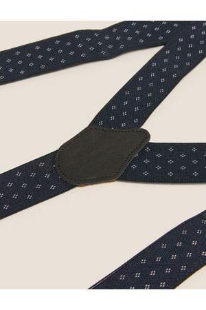 Marks & Spencer Mens Adjustable Braces - 1SIZE - Navy, Navy