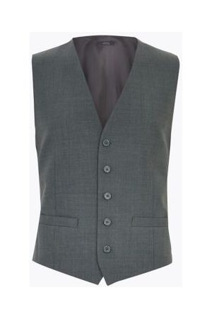 Marks & Spencer Mens Wool Waistcoat - SLNG - Charcoal, Charcoal