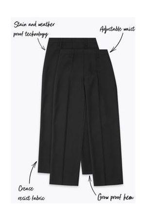Marks & Spencer Boys 2pk Boys' Regular Leg School Trousers - 2-3 Y - , ,Charcoal, ,Navy