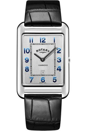 Rotary Silver Square Dial Blue Accents Black Leaterstrap Watch