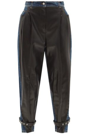 Alexander McQueen High-rise Leather-panel Denim Trousers - Womens