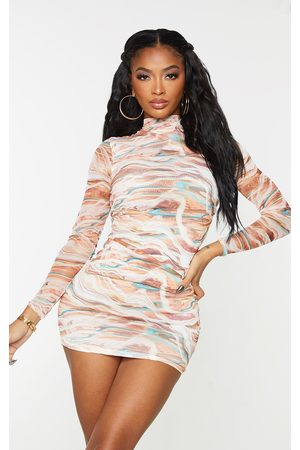 PRETTYLITTLETHING Shape Marble Print High Neck Mesh Bodycon Dress
