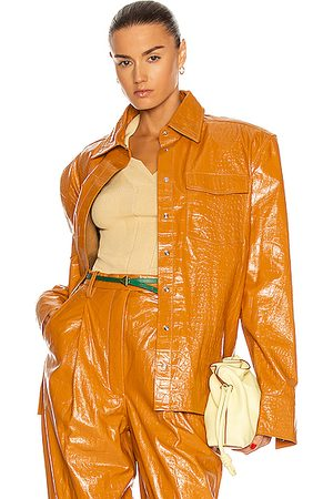 REMAIN Carina Leather Shirt Jacket in Topaz