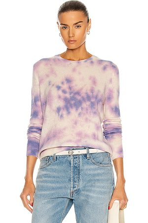 THE ELDER STATESMAN Glacier Tranquility Crew Sweater in Ivory & Lavender