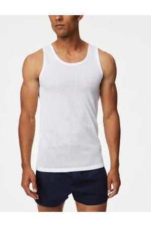 Marks & Spencer Men Tank Tops - Mens 3pk Pure Cotton Classic Sleeveless Vests - M
