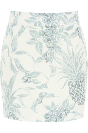 See by Chloé MINI SKIRT WITH SPRING FRUITS PRINT 34 , , Linen