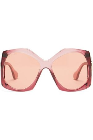 Gucci GG-logo Oversized Hexagon Acetate Sunglasses - Womens