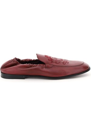 Dolce & Gabbana ARIOSTO LOAFERS WITH COAT OF ARMS EMBROIDERY 39 , Leather