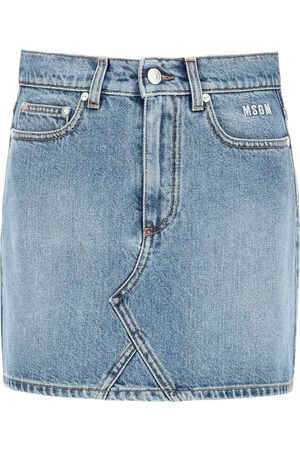 Msgm DENIM MINI SKIRT WITH LOGO 38 Cotton, Denim