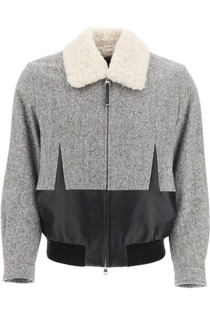 Alexander McQueen TWEED BOMBER JACKET WITH SHEARLING COLLAR 50 , Wool, Leather, Fur