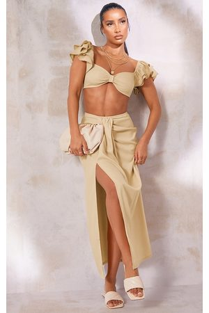 PRETTYLITTLETHING Stone Woven Panel Wrap Front Midi Skirt