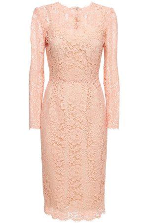 Dolce & Gabbana Cotton & Viscose Lace Effect Midi Dress