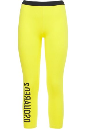 Dsquared2 Women Trousers - Logo Stretch Cotton Crop Leggings