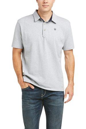 Ariat Men Polo Shirts - Men's Medal Button Polo Shirt in Heather Gray Cotton