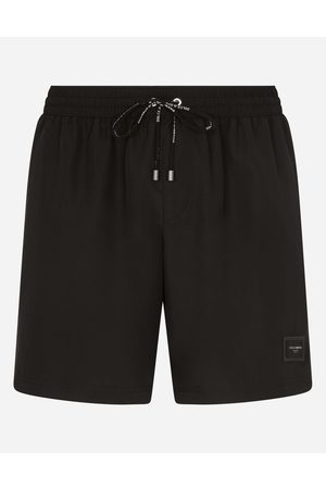 Dolce & Gabbana Beachwear - MID-LENGTH SWIM TRUNKS WITH BRANDED PLATE male 3