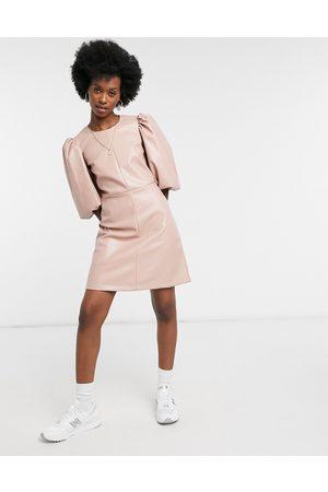 Closet Women Evening Dresses - Structured sleeve PU mini dress in taupe