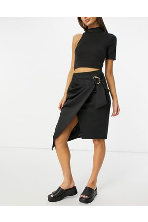Closet Woven wrap midi skirt with D-ring fastening in