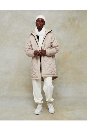 Topman Onion quilt parka in stone