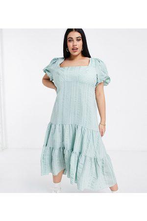 Forever New Puff sleeve square neck midaxi dress with bow back in soft mint